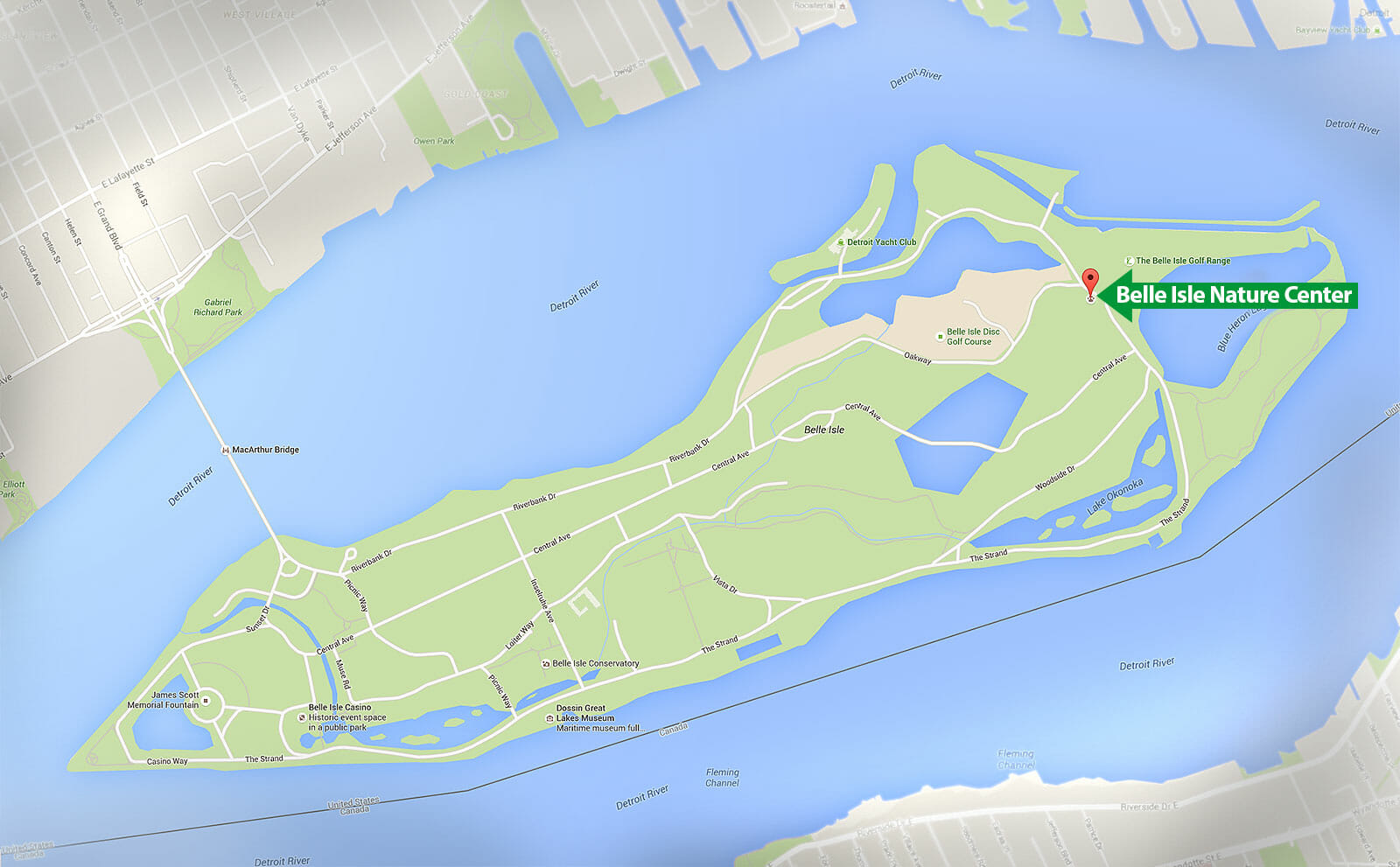 Belle Isle Nature Center - Map